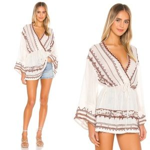 NWT Free People Saffron Embroidered Tunic in Ivory